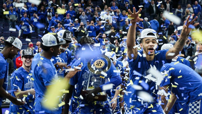 Kentucky celebrates their 2018 SEC Championship Sunday afternoon in St. Louis after defeating Tennessee 77-72.