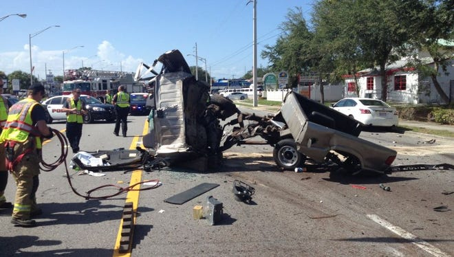 Two people were taken to a hospital after a crash on U.S. 1 in Melbourne on Thursday afternoon.
