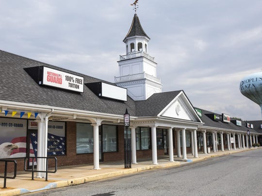 The National Guard recruitment center in the Peoples Plaza Shopping Center sits empty on Tuesday afternoon.