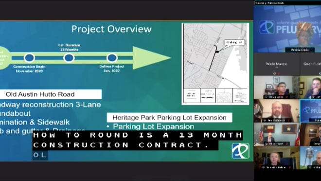 City engineer Patricia Davis presents the Old Austin Hutto Road reconstruction project to the Pflugerville City Council on Tuesday night. The project is expected to last 13 months and will be completed in three segments.
