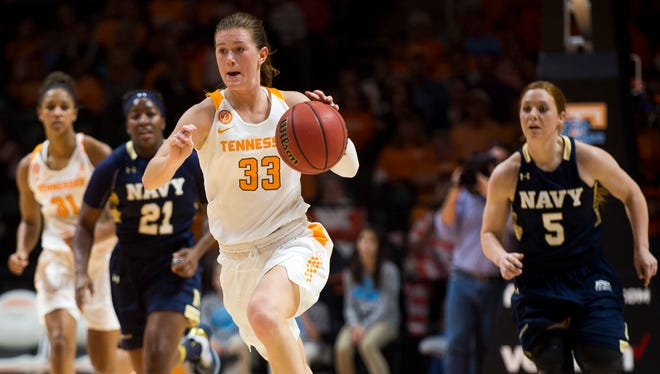 Tennessee's Alexa Middleton drives down the court during the second half against Navy on Sunday at Thompson-Boling Arena.