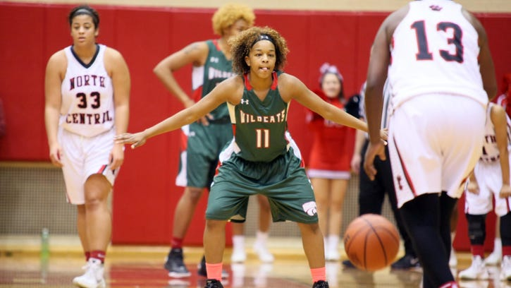 Lawrence North's Amber Morgan gets in a defensive stance in the Wildcats' sectional semifinal win over North Central on Friday night.