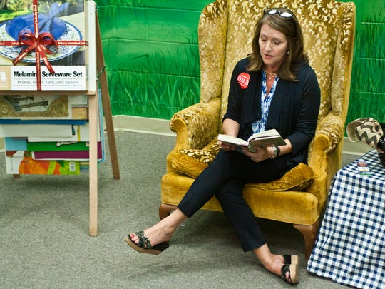Tennessee first lady Crissy Haslam reads to students at Arlington Elementary School at the school's monthly Literacy Night program in this 2014 file photo.
