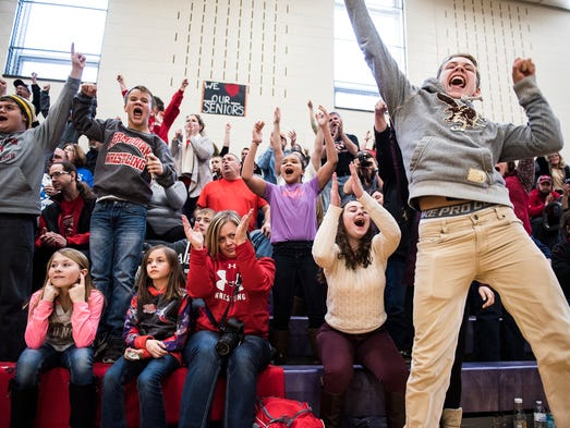 Bermudian Springs fans cheer on their team as they