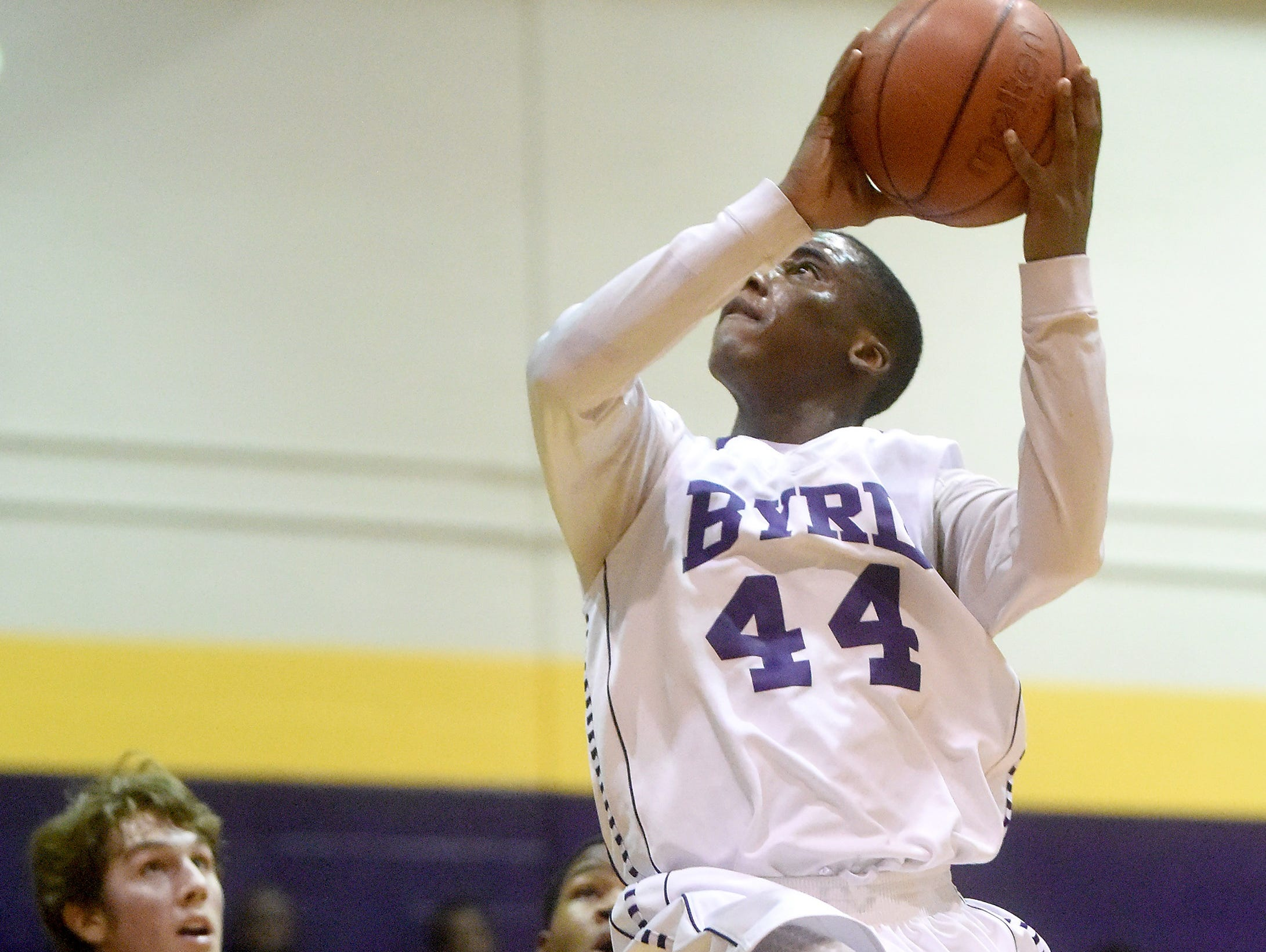 Byrd's Phillip Stewart heads to the hoop during a game against Airline at Byrd High School in Shreveport on Friday. Stewart led all scorers with 25 points but Airline won the game.