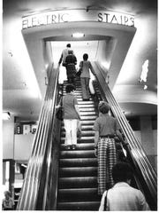 The electric stairs inside the Younkers building on