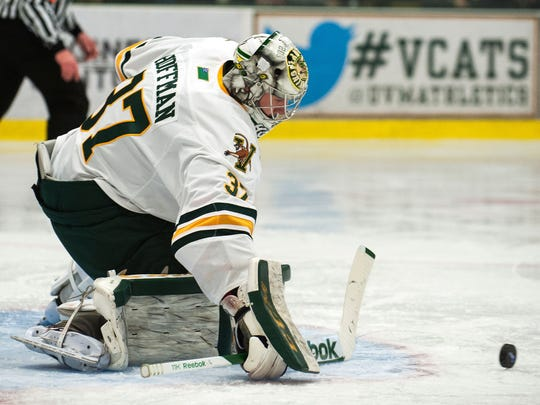 Brody Hoffman came up with two big performances in net for Vermont this weekend as the Catamounts advanced to the Hockey East semifinals.