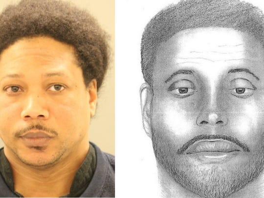 New Castle County Police produced the sketch on the right after two victims of indecent exposure relayed details of the perpetrator's face to investigators. On Sunday, police arrested Delancy Smallwood (left) for the crimes.
