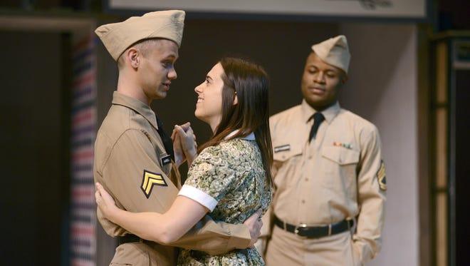 "Stuart Rial, Devi Reisenfeld and Terrance Fleming rehearse for ""Violet,"" USM Theatre's fall season debut. The show opens Thursday."
