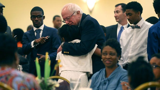 Bernie Sanders greets people at the Brookland Baptist Church on Feb. 21, 2016, in West Columbia, S.C.