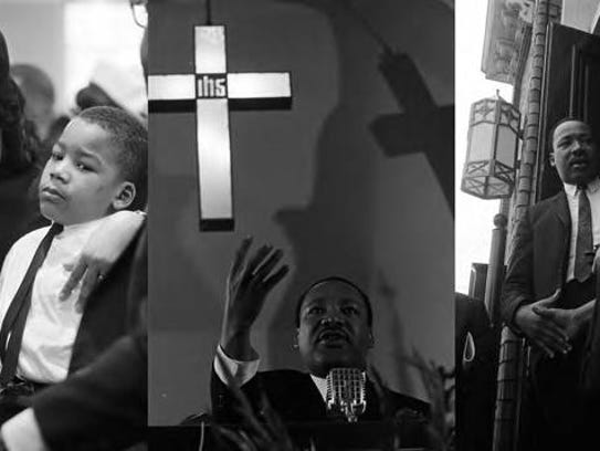 Images of Martin Luther King Jr. speaking to an audience at Dexter Avenue Baptist Church in Montgomery, Alabama.