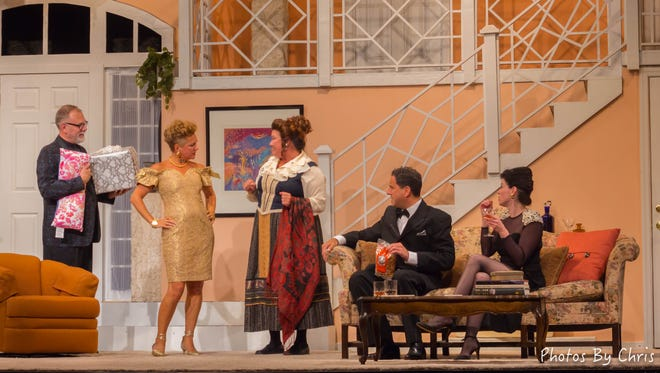 Party guests arrive in 'Rumors' at the Ritz Theatre Company in Haddon Township.