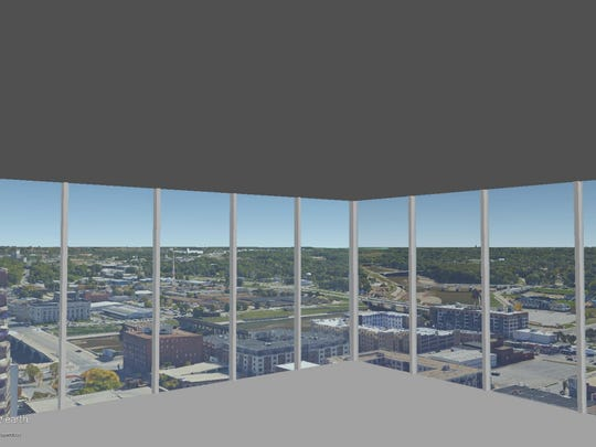 This is a rendering of the view on the 24th floor of The Fifth looking out the southeast corner.