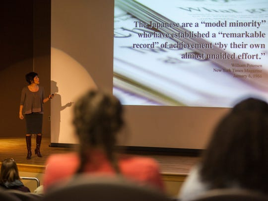 "Mia Hui Chi Tuan, dean of the college of education at the University of Washington, presents ""A Part and yet Apart: Asian Americans as the Model Minority"" lecture at Southern Utah, Thursday, March 17, 2016."