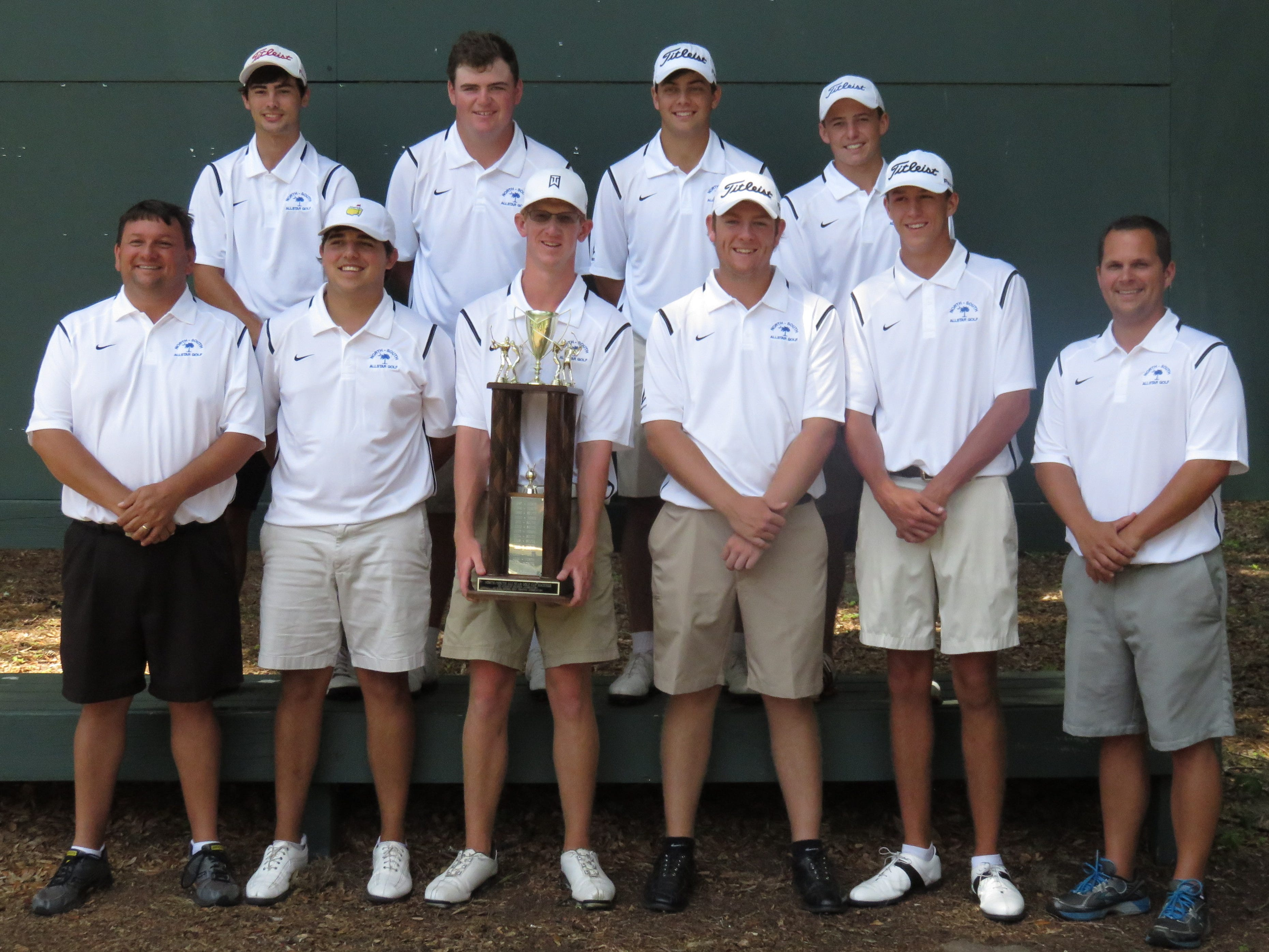 Members of the victorious North team in the recent North-South all-star matches were (left to right): front row, coach Chip Whitt, Weston Sanders, Zach Bishop, Matt Carter, Sawyer Mills and coach Stan Yarborough; back row, Matthew Terry, Michael McKee, Coleman Self and Jonathan Costello.