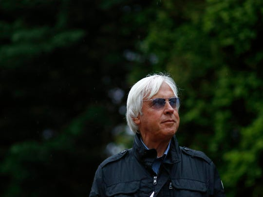 Bob Baffert, trainer of Kentucky Derby winner Justify, stands outside a barn, Friday, May 18, 2018, at Pimlico Race Course in Baltimore. The Preakness Stakes horse race took place Saturday, May 19.