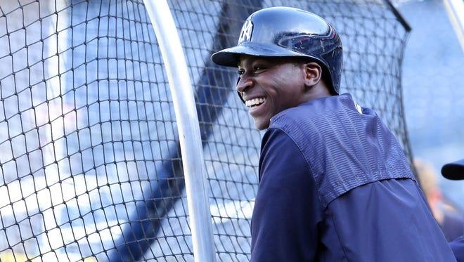 Yankees shortstop Didi Gregorius participates in batting practice before Friday's game against the Orioles at Yankee Stadium.