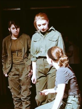 """Mary Mills as Leeann, Rachel Milligan as Martha and London Dailey as Sissy in Dixie Heights High School's production """"A Piece of My Heart"""" by Shirley Lauro."""
