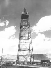 """A tower erected at the site to hold """"the gadget,"""" as"""