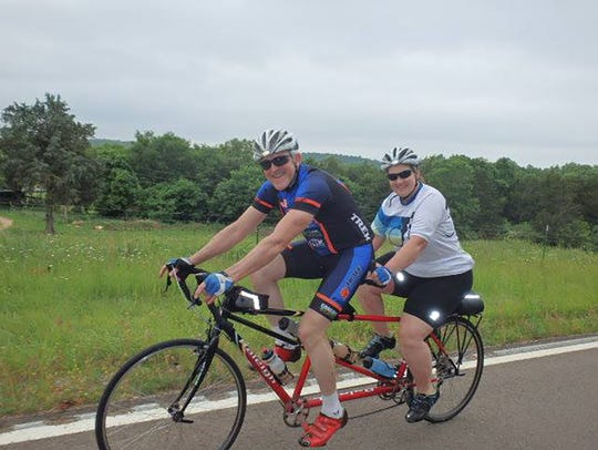 James and Penny Buttrey love the view while bicycling