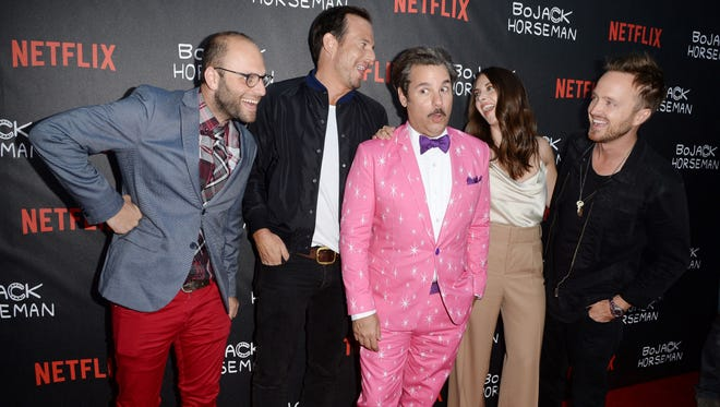 "Show creator Raphael Bob-Waksberg and cast members Will Arnett, Paul F. Tompkins, Alison Brie and Aaron Paul attend a special screening of Netflix's ""BoJack Horseman,""  July 14, 2016 at the Arclight Cinema in Hollywood, California."