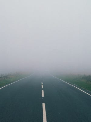Road with Visibility Obscured by Fog