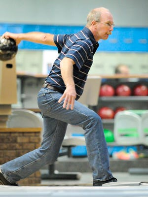 Bruce Solt rolls in the final round of Thursday's Times-Nahan men's bowling tournament at the Southway Bowl.