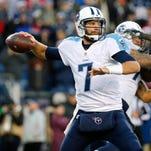 Titans quarterback Zach Mettenberger (7) throws under pressure during the second half.