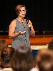 CHS senior program manager Julie McFarland speaks to