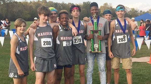 The Madison boys cross country team wins Veritas Invitational.