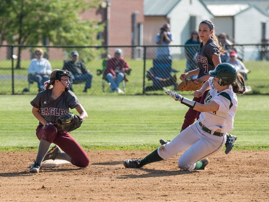 Snow Hill's Kelsey Hall tags a Mardela baserunner.