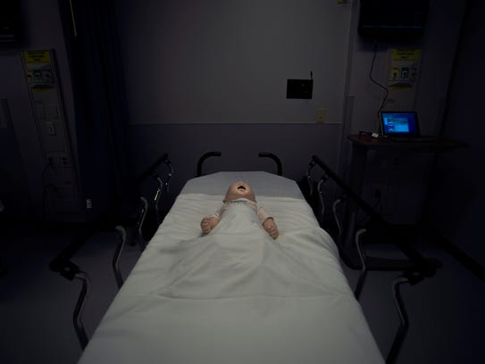 An infant simulation mannequin inside the 'Jane and