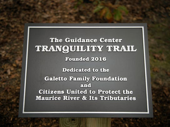 A commemorative sign at the beginning of the Tranquility