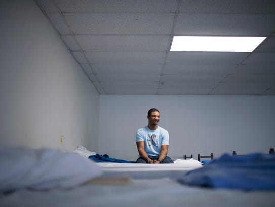 """Michael Barnard, 38, was among the men who spent the night at the Volunteers of America's Aletha R. Wright """"Vision of Hope"""" Center on Atlantic Avenue in Camden during the 2017 homelessness survey."""