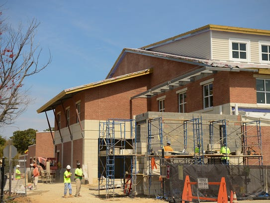 Rehoboth City Hall continues construction on Wednesday,