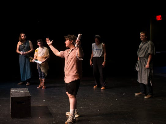 Alex Scheinberg, front, directs a dress rehearsal of