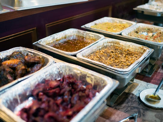 The buffet table at Rochester's Barbecue and Grill in Lawnside offers guests a wide range of Southern options.