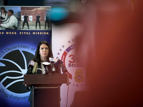 Special Agent in Charge Valerie A. Nickerson announces the rollout of the U.S. Drug Enforcement Administration's new '360 Strategy' in South Jersey. In 2016, more than 64,000 Americans died due to opioids, nearly double the number of opioid-related deaths 10 years before, Nickerson said.