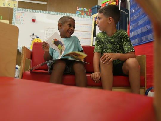 Left to right, kindergarteners Dante Hargrove and Shamus