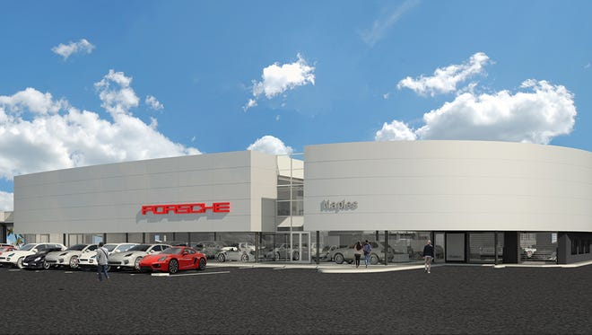 A rendering of the new Porsche of Naples dealership planned on Davis Boulevard near Airport-Pulling Road in East Naples.