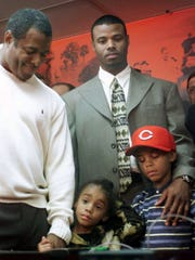 Trey Griffey (bottom right) with his father and grandfather