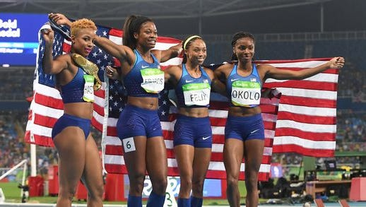 Natasha Hastings, Phyllis Francis, Allyson Felix and Courtney Okolo after their 4x400 relay win.