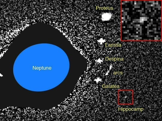 This annotated image made available by researcher Mark R. Showalter in February 2019 shows the planet Neptune and its moons, captured by the Hubble Space Telescope in 2004. The recently discovered moon, Hippocamp, is indicated by a red box and an enlarged version is inset at upper right.