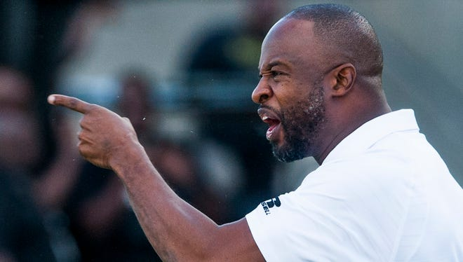 Alabama State coach Brian Jenkins against Miles College during the Turkey Day Classic at ASU Stadium in Montgomery, Ala. on Thursday November 24, 2016.