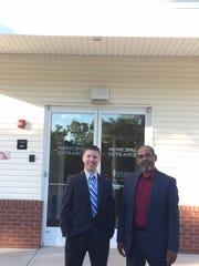 South Toms River Borough Administrator Joseph Kostecki (l) and Mayor Oscar Cradle outside Borough Hall.