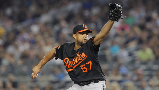 Former Baltimore Orioles relief pitcher Francisco Rodriguez (57) pitches against the New York Yankees.