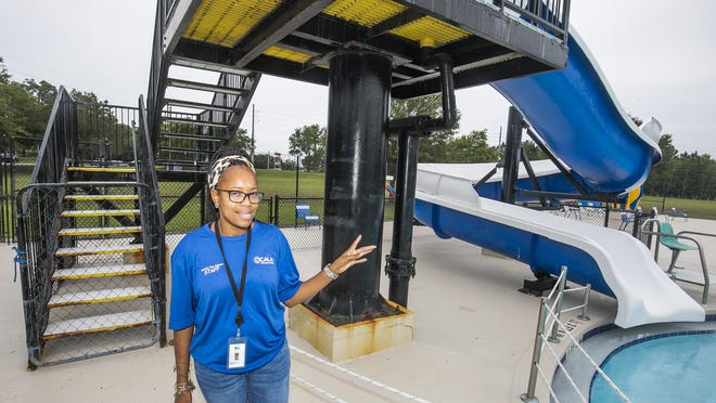 Jasmine Brown, aquatics coordinator for the City of Ocala, talked on Friday about how the slides at the city pools will not be open this year.