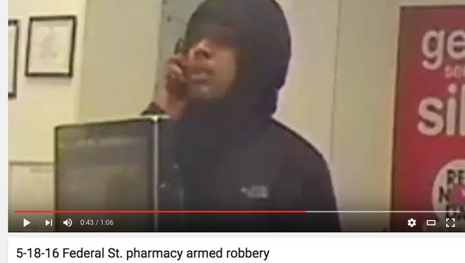 A man is wanted for holding up a Camden pharmacy Wednesday.