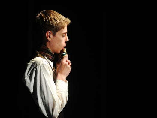 """Actor, Noah Bunger, who plays Mr. Tumnus, performs on Monday, June 9, 2014, during a dress rehearsal of the Sioux Empire Community Theatre's production of """"The Lion, The Witch, and The Wardrobe"""" at the Orpheum Theatre Centre in downtown Sioux Falls."""