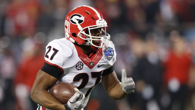 Georgia's Nick Chubb has rushed for at least 100 yards in nine straight games, the longest active streak in FBS.